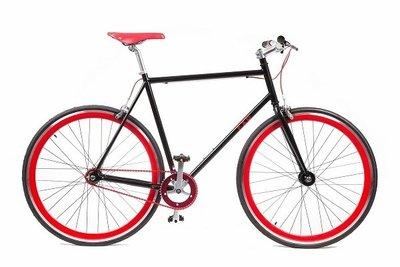 Tip zwart met rode fxd fixed gear bike kopen bij for Minimalistische fiets
